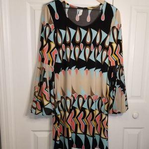 MSK Retro Boho Bell Sleeve 70's Feel Dress